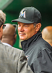 7 April 2016: Miami Marlins Manager Don Mattingly chats in the dugout prior to the Washington Nationals Home Opening Game at Nationals Park in Washington, DC. The Marlins defeated the Nationals 6-4 in their first meeting of the 2016 MLB season. Mandatory Credit: Ed Wolfstein Photo *** RAW (NEF) Image File Available ***