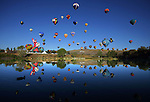 RENO, NV - SEPTEMBER 11:   A general view of the Mass Ascension Launch during the Great Reno Balloon Race at the Rancho San Rafael Park on September 11, 2009 in Reno, Nevada. (Photo by Donald Miralle)