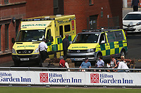 Two ambulances arrive to attend a medical emergency during Lancashire CCC vs Essex CCC, Specsavers County Championship Division 1 Cricket at Emirates Old Trafford on 11th June 2018