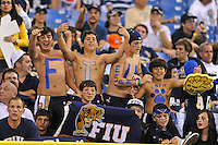 20 December 2011:  FIU fans cheer as the team takes the field prior to the game.  The Marshall University Thundering Herd defeated the FIU Golden Panthers, 20-10, to win the Beef 'O'Brady's St. Petersburg Bowl at Tropicana Field in St. Petersburg, Florida.