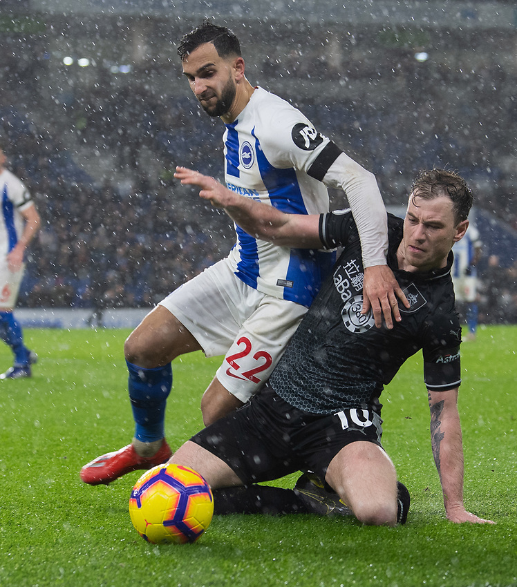 Burnley's Ashley Barnes (right) battles with Brighton & Hove Albion's Martin Montoya (left) <br /> <br /> Photographer David Horton/CameraSport<br /> <br /> The Premier League - Brighton and Hove Albion v Burnley - Saturday 9th February 2019 - The Amex Stadium - Brighton<br /> <br /> World Copyright © 2019 CameraSport. All rights reserved. 43 Linden Ave. Countesthorpe. Leicester. England. LE8 5PG - Tel: +44 (0) 116 277 4147 - admin@camerasport.com - www.camerasport.com