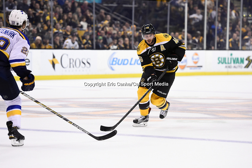 Tuesday, December 22, 2015: Boston Bruins center David Krejci (46) carries the puck through the neutral zone during the National Hockey League game between the St. Louis Blues and the Boston Bruins held at TD Garden, in Boston, Massachusetts. The blues beat the Bruins 2-0 in regulation time. Eric Canha/CSM