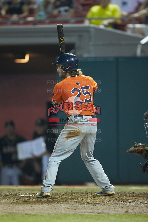 Jay Estes (25) of the Auburn Tigers at bat against the Army Black Knights at Doak Field at Dail Park on June 2, 2018 in Raleigh, North Carolina. The Tigers defeated the Black Knights 12-1. (Brian Westerholt/Four Seam Images)