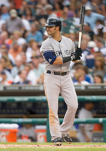 August 08, 2012:  New York Yankees right fielder Nick Swisher (33) at bat during MLB game action between the New York Yankees and the Detroit Tigers at Comerica Park in Detroit, Michigan.  The Yankees defeated the Tigers 12-8.