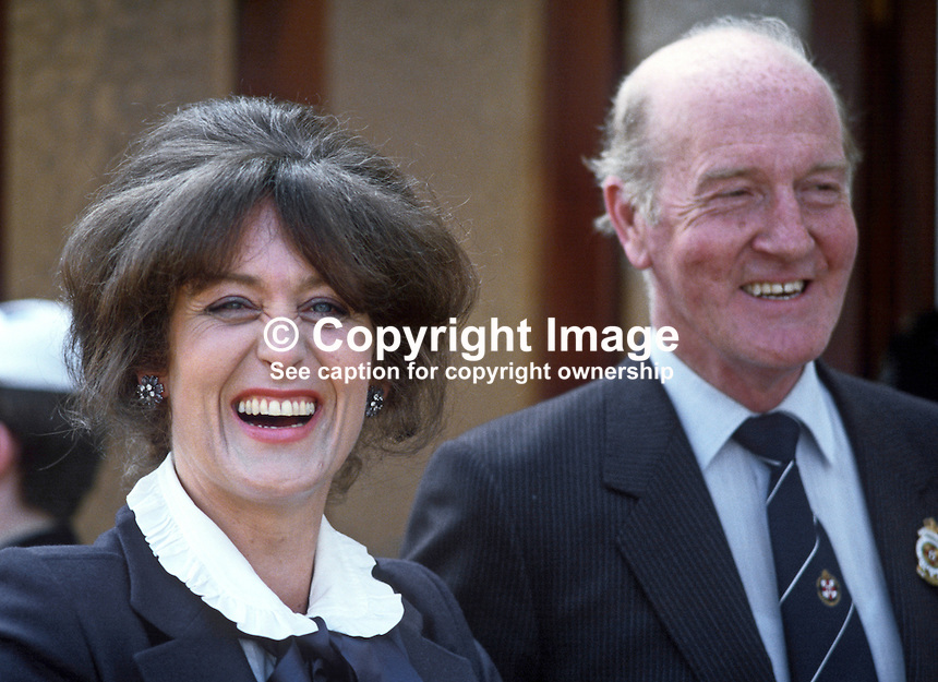 Lady Georgina Mary O'Neill, wife of Lord O'Neill, 4th Baron, Shane's Castle, Antrim, N Ireland, UK. With Lady O'Neill is Robin Wylie, council member, Royal Ulster Agricultural Society. 19840070GMON4<br /> <br /> Copyright Image from Victor Patterson,<br /> 54 Dorchester Park, Belfast, UK, BT9 6RJ<br /> <br /> t1: +44 28 90661296<br /> t2: +44 28 90022446<br /> m: +44 7802 353836<br /> <br /> e1: victorpatterson@me.com<br /> e2: victorpatterson@gmail.com<br /> <br /> For my Terms and Conditions of Use go to<br /> www.victorpatterson.com