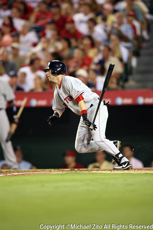 August 23, 2006 Anaheim, CA. Dustin Pedroia In a MLB game played at Angel Stadium where the Boston Red Sox defeated the Los Angeles Angels 5-4