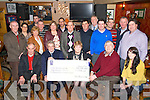 Katherine O'Connor, Keel Palliatice Care group, centre, pictured as she presented a cheque for ?5906 to Ted Moynihan, chairman Palliative Care Unit, Kerry General Hospital, in teh Anvil Bar, Boolteens on Sunday night. Also pictured are James Nash, Donal Griffin, Deirdre Griffin, Jim Foley, Moira O'Shea, Marion O'Connor, Sean Foley, Margaret Kerrisk, Bertie Cournane, William O'Shea, Patsy Ashe, Micheal O'Suilleabhain, Johnny Daly, Mike O'Shea, Dan Galvin, Seamus and Stephen O'Connor.