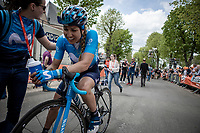 Margarita Garcia Canellas (ESP/Movistar) post race exhausted.<br /> <br /> 22nd la Flèche Wallonne Féminin 2019 (1.WWT)<br /> 1 Day Race: Huy – Huy 118,5km<br /> women's elite race<br /> <br /> ©kramon