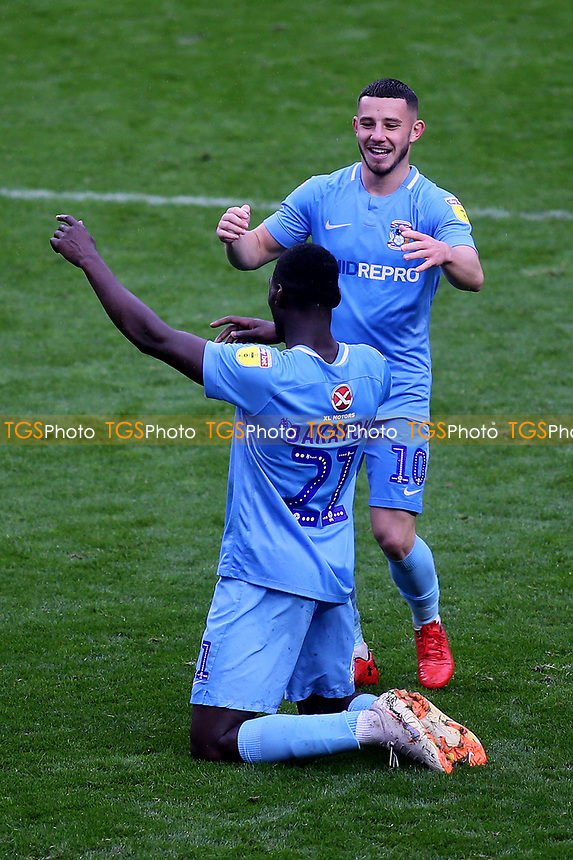 Amadou Bakayoko scorer of Coventry City's second goal celebrates at the final whistle with Conor Chaplin during Charlton Athletic vs Coventry City, Sky Bet EFL League 1 Football at The Valley on 6th October 2018