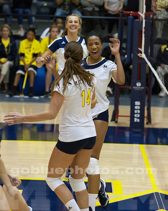 The University of  Michigan women's volleyball teams beat No. 22 Illinois, 3-0, at Cliff Keen Arena in Ann Arbor, Mich., on October 10, 2012.