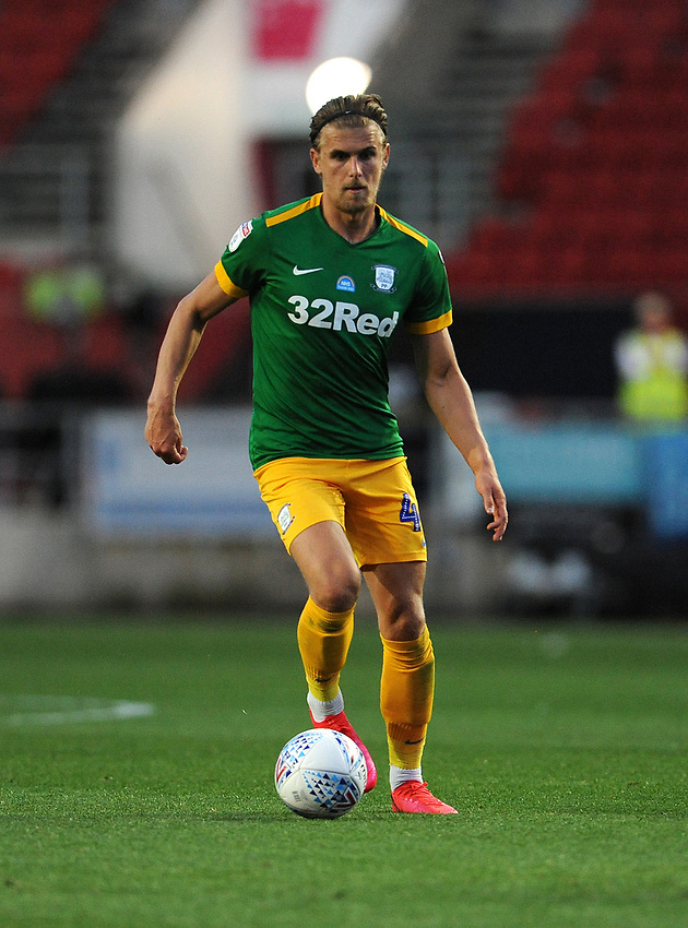 Preston North End's Brad Potts during the game<br /> <br /> Photographer Ian Cook/CameraSport<br /> <br /> The EFL Sky Bet Championship - Bristol City v Preston North End - Wednesday July 22nd 2020 - Ashton Gate Stadium - Bristol <br /> <br /> World Copyright © 2020 CameraSport. All rights reserved. 43 Linden Ave. Countesthorpe. Leicester. England. LE8 5PG - Tel: +44 (0) 116 277 4147 - admin@camerasport.com - www.camerasport.com