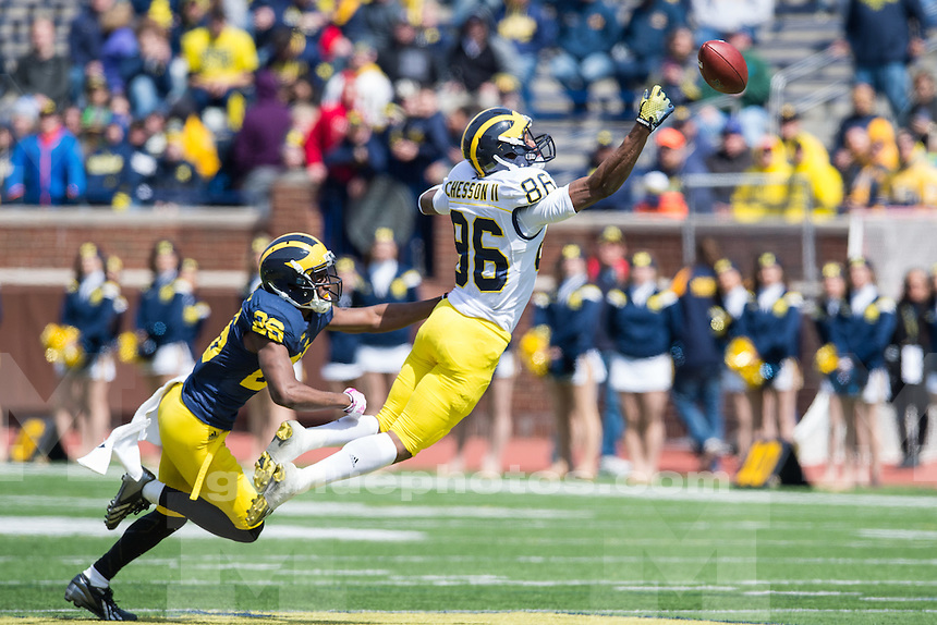 University of Michigan football team held its annual spring game at Michigan Stadium, with the Blue team beating the Maize team 7-0, in Ann Arbor Michigan on April 4, 2015.