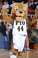 18 November 2010:  FIU's mascot, Roary, fires up the crowd during a break in the action as the Florida State University Seminoles defeated the FIU Golden Panthers, 89-66, at the U.S. Century Bank Arena in Miami, Florida.