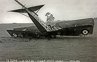 BNPS.co.uk (01202 558833)<br /> Pic: AllanScott/BNPS<br /> <br /> Allan's final 'lucky' escape was from this Tiger Moth crash in 1953.<br /> <br /> As Rememberance Day approches the last surviving Spitfire ace of the almost forgotten Siege of Malta has spoken about the ferocious battle over 'the most bombed place on earth' during WW2 on the 77th anniversary of the Allies' remarkable victory.<br /> <br /> Squadron Leader Allan Scott was awarded a prestigious Distinguished Flying Medal after shooting down five enemy aircraft, and claiming eight other probable kills, while defending the beleaguered British colony.<br /> <br /> Between June 1940 and November 1942, the tiny island was 'the most bombed place on earth'. It was subjected to 3,000 bombing raids, during which the German Luftwaffe and Italian fighters dropped 6,700 tons of bombs on the Grand Harbour area alone to destroy RAF defences and the ports.<br /> <br /> Over the course of the battle, 2,300 Allied airmen were killed or wounded, but their sterling efforts saved the 'flattened' island from defeat.