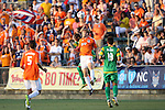 31 May 2014: Carolina's Connor Tobin (20) and Darel Russell (ENG) (behind) challenge for a header. The Carolina RailHawks played the Tampa Bay Rowdies at WakeMed Stadium in Cary, North Carolina in a 2014 North American Soccer League Spring Season match. Carolina won the game 2-0.