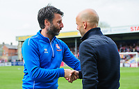 Lincoln City manager Danny Cowley, left, shakes hands with Exeter City manager Paul Tisdale before kick off<br /> <br /> Photographer Chris Vaughan/CameraSport<br /> <br /> The EFL Sky Bet League Two Play Off First Leg - Lincoln City v Exeter City - Saturday 12th May 2018 - Sincil Bank - Lincoln<br /> <br /> World Copyright &copy; 2018 CameraSport. All rights reserved. 43 Linden Ave. Countesthorpe. Leicester. England. LE8 5PG - Tel: +44 (0) 116 277 4147 - admin@camerasport.com - www.camerasport.com