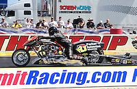 Mar. 30, 2012; Las Vegas, NV, USA: NHRA top Harley rider Steve Drane during qualifying for the Summitracing.com Nationals at The Strip in Las Vegas. Mandatory Credit: Mark J. Rebilas-