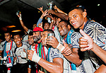 Fiji celebrate after winning the Cup Final on Day 3 of the Cathay Pacific / HSBC Hong Kong Sevens 2013 on 24 March 2013 at Hong Kong Stadium, Hong Kong. Photo by Xaume Olleros / The Power of Sport Images