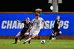 GREENSBORO, NC - DECEMBER 02: Chase Lennartz #19 of North Park University battles Josh Bender #10 of Messiah College for the ball during the Division III Men's Soccer Championship held at UNC Greensboro Soccer Stadium on December 2, 2017 in Greensboro, North Carolina. Messiah College defeated North Park University 2-1 to win the national title. (Photo by Grant Halverson/NCAA Photos via Getty Images)