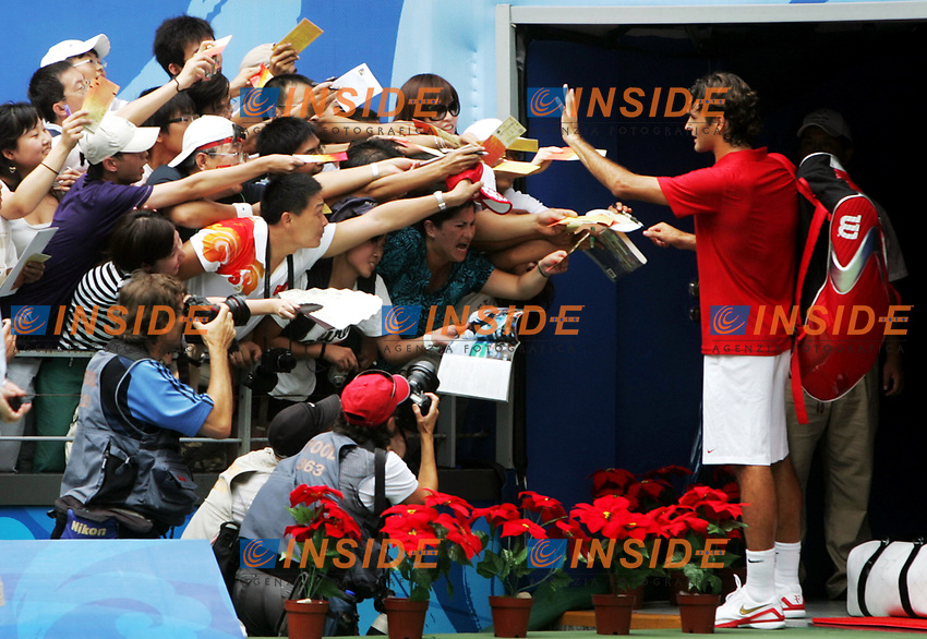 Aug 11, 2008, Beijing, China, Roger Federer of Switzerland 2:0 Dmitry Tusunov of Russia in a men's singles first round match during day three of the 2008 Beijing Olympic Games.