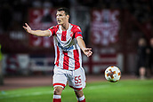 14th September 2017, Red Star Stadium, Belgrade, Serbia; UEFA Europa League Group stage, Red Star Belgrade versus BATE; Midfielder Slavoljub Srnic of Red Star Belgrade reacts to a referees decision