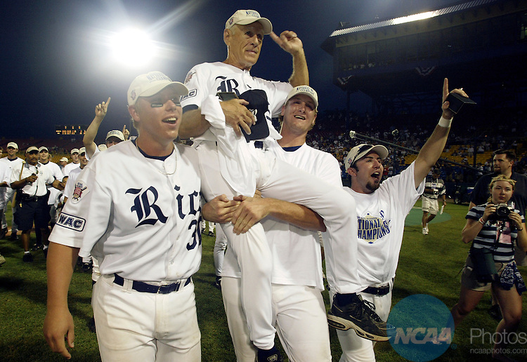 23 JUNE 2003:  Rice University Head Coach Wayne Graham is lifted in the air in celebration after defeating Stanford University during the Men's College World Series Championship Game held at Rosenblatt Stadium in Omaha, NE.  Rice defeated Stanford 14-2 for their first ever national title.  Jamie Schwaberow/NCAA Photos