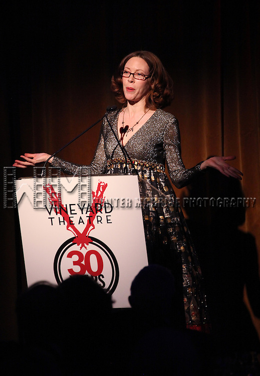 Veanne Cox performing at the Vineyard Theatre's 30th Anniversary Gala Celebration Cocktail Reception at the Edison Ballroom in New York City on 3/18/2013