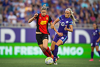 Orlando, Florida - Sunday, May 14, 2016: Western New York Flash defender Alanna Kennedy (8) and Orlando Pride midfielder Kaylyn Kyle (6) challenge for a ball during a National Women's Soccer League match between Orlando Pride and New York Flash at Camping World Stadium.