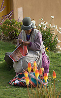 An indigenous Indian woman, dressed in traditional colourful style, sits and crochets in an equally colourful garden on the Island of the Sun (Isla del Sol) on Bolivia's Lake Titicaca. The lake is regarded as the birthplace of the Inca civilisation and, as such, is one of the most sacred places in Bolivia.