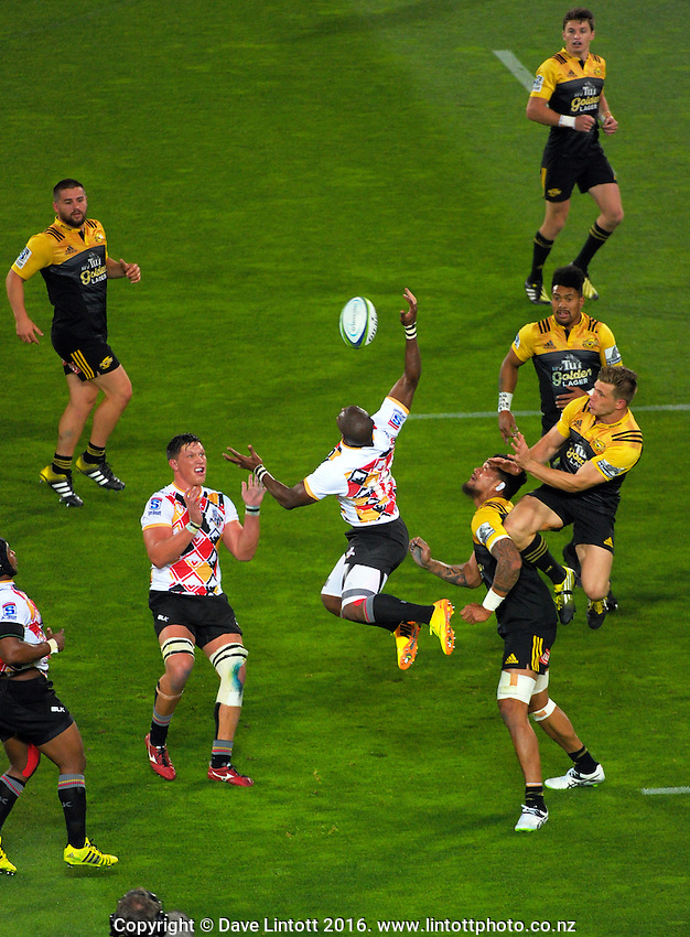 Action from the Super Rugby match between the Hurricanes and Southern Kings at Westpac Stadium, Wellington, New Zealand on Friday, 25 March 2016. Photo: Dave Lintott / lintottphoto.co.nz