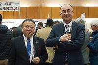 RYUICHIRO KOBAYASHI, MEHMEY OZGUR CAKAR CONSUL DU JAPON ET DE TURQUIE - INAUGURATION DU SALON DES VINS DE TAIN L'HERMITAGE