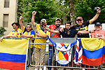 Colombian fans on the course before Stage 1 of the 101st edition of the Giro d'Italia 2018 an individual time trial of 9.7km around Jerusalem, Israel. 4th May 2018.<br /> Picture: LaPresse/Fabio Ferrari | Cyclefile<br /> <br /> <br /> All photos usage must carry mandatory copyright credit (&copy; Cyclefile | LaPresse/Fabio Ferrari)