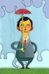 Illustrative image of businessman holding small umbrella representing inadequate insurance