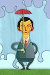 Illustrative image of businessman holding small umbrella representing inadequate insurance