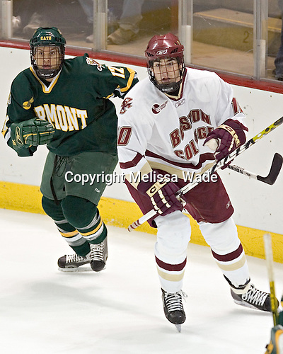 Evan Stoflet, Brian Boyle - The Boston College Eagles completed a shutout sweep of the University of Vermont Catamounts on Saturday, January 21, 2006 by defeating Vermont 3-0 at Conte Forum in Chestnut Hill, MA.