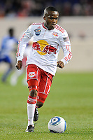 Dane Richards (19) of the New York Red Bulls. The New York Red Bulls defeated FC Dallas 2-1 during a Major League Soccer (MLS) match at Red Bull Arena in Harrison, NJ, on April 17, 2010.