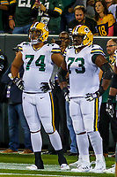 Green Bay Packers tackle Ulrick John (74) and guard Jahri Evans (73) during a National Football League game against the Chicago Bears on September 28, 2017 at Lambeau Field in Green Bay, Wisconsin. Green Bay defeated Chicago 35-14. (Brad Krause/Krause Sports Photography)