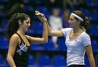 18-12-13,Netherlands, Rotterdam,  Topsportcentrum, Tennis Masters,  Rosalie van der Hoek(R) and Valeria Podda<br /> Photo: Henk Koster