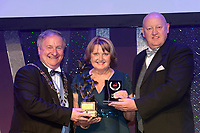 Claire Kelly, Castlerea Musical Society winner of the Best House Management /Gilbert Section for their production of &quot;Dirty Rotten Scoundrels' receiving the trophy from on left, Colm Moules, President, AIMS and Seamus Power, Vice-President at the Association of Irish Musical Societies annual awards in the INEC, KIllarney at the weekend.<br /> Photo: Don MacMonagle -macmonagle.com<br /> <br /> <br /> <br /> repro free photo from AIMS<br /> Further Information:<br /> Kate Furlong AIMS PRO kate.furlong84@gmail.com