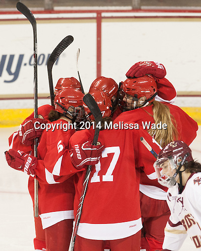 Cassandra Poudrier (Cornell - 5), Jillian Saulnier (Cornell - 19), Brianne Jenner (Cornell - 11), Erin O'Connor (Cornell - 2), Emily Fulton (Cornell - 17) - The Boston College Eagles defeated the visiting Cornell University Big Red 6-2 on Friday, October 24, 2014, at Kelley Rink in Conte Forum in Chestnut Hill, Massachusetts.