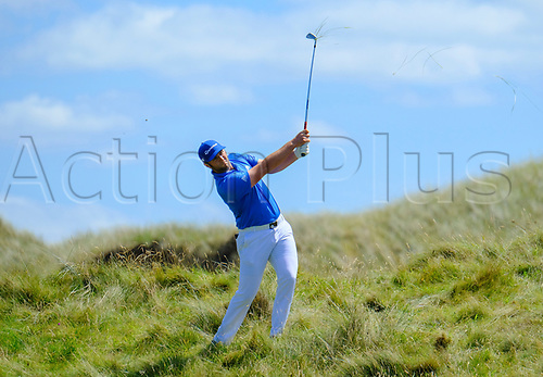 July 8th 2017, Portstewart Golf Club, Portstewart, Northern Ireland; Dubai Duty Free Irish Open Golf Championship, Day 3;  John Rahm (USA) with his second shot on the 3rd during the third round of the Dubai Duty Free Irish Open; Rahm presently holds the lead towards the end of the 3rd round