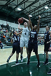 23 February 2018:  Ashley Schneider doubled on by Jasmin Bailey and Hannah Henderson during an NCAA women's CCIW Semi-Final basketball game between the Elmhurst Bluejays and the Illinois Wesleyan Titans in Shirk Center, Bloomington IL