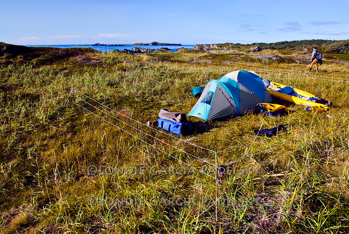 Electric fence safe guards tent and kayak while on Shuyak Island, Shuyak Island State Park, an island in the northern part of Kodiak Archipelago. Kodiak Island, Southwest Alaska