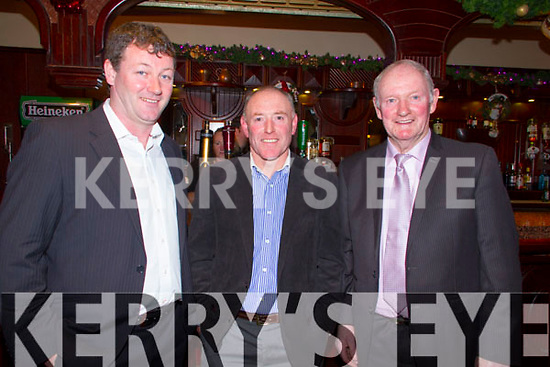 Pictured at the Fealebridge and Headley's Bridge Co-Op 45th Annual Social at the Devon Inn hotel, Templeglantine on Friday night were L-R: PJ O'Donnell, Abbeyfeale, Declan Mangan,, Knocknagoshel, William O'Donnell, Abbeyfeale.