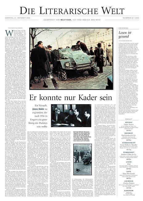 Die Welt, Germany, 2006 October 21, Photographer: Jenö Kiss