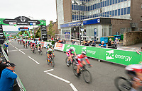 Picture by Allan McKenzie/SWpix.com - 15/05/2018 - Cycling - OVO Energy Tour Series Womens Race - Round 2:Motherwell - The peloton passes through Motherwell under the gantry.