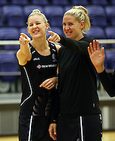 29.10.2015 Silver Ferns Katrina Grant and Casey Kopua in action during the Silver Ferns training ahead of the final test match against the Australian Diamonds in Perth Australia. Mandatory Photo Credit ©Michael Bradley.