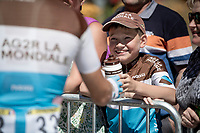 Benoit Cosnefroy (FRA/AG2R-La Mondiale) making a young fan very happy at the race start in Saint-Dié-des-Vosges<br /> <br /> Stage 5: Saint-Dié-des-Vosges to Colmar(175km)<br /> 106th Tour de France 2019 (2.UWT)<br /> <br /> ©kramon