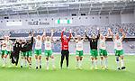 ****BETALBILD**** <br /> Stockholm 2015-04-11 Fotboll Damallsvenskan Hammarby IF DFF - Mallbackens IF Sunne  :  <br /> Hammarbys spelare jublar med lagkamrater efter matchen mellan Hammarby IF DFF och Mallbackens IF Sunne  <br /> (Foto: Kenta J&ouml;nsson) Nyckelord:  Fotboll Damallsvenskan Dam Damer Tele2 Arena Hammarby HIF Bajen Mallbacken jubel gl&auml;dje lycka glad happy