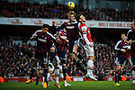 Peter Crouch of Stoke City vies for the ball  during the  English Premier League soccer match between Arsenal and Stoke City in London,UK,02 February  2012.THOMAS CAMPEAN/Pixel8000 Ltd...